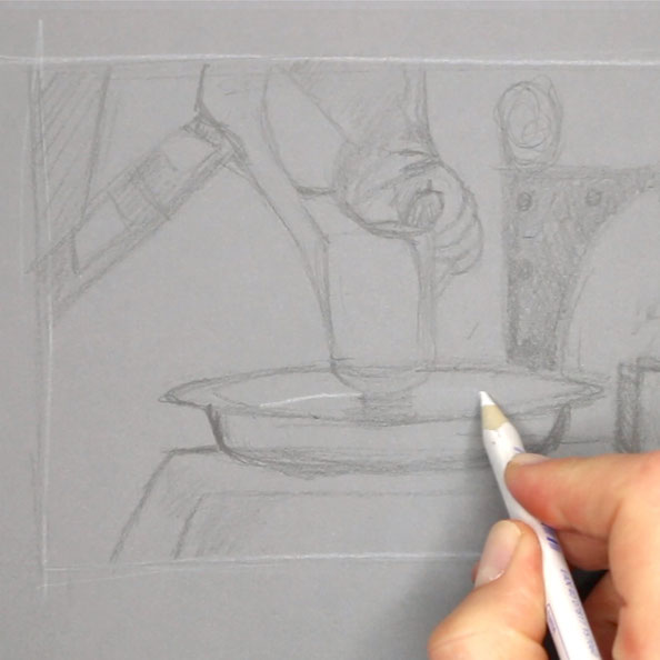 In step 1, I sketch Vermeer's detail with grey and white pencil on grey paper |  Painting Vermeer's Pitcher , by The Daily Atelier