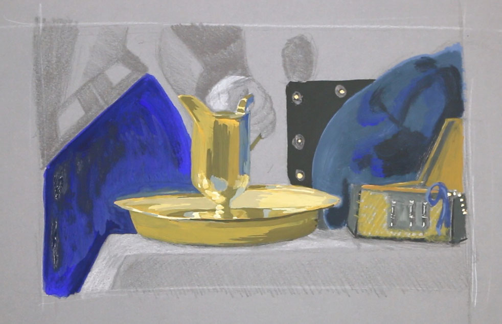 In step 3, I add the details and define the pitcher with gouache. I had to work with greens and blues to create the metallic effect|  Painting Vermeer's Pitcher , by The Daily Atelier