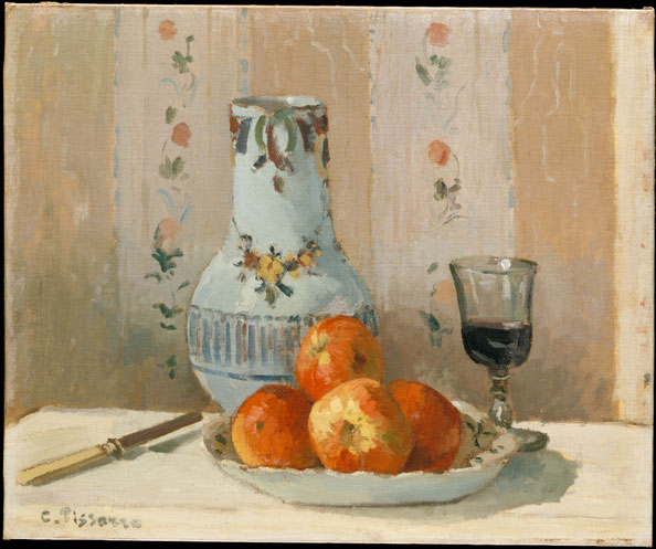 Still Life with Apples and Pitcher , Camille Pissarro, 1872, oil on canvas. Metropolitan Museum of Arts, New York, Purchase, Mr and Mrs Richard J. Bernhard Gift, by exchange, 1983.