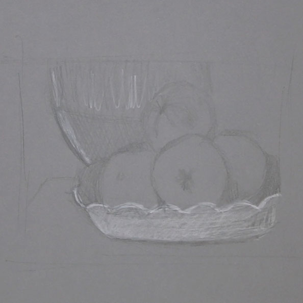 Sketching apples with black and white pencil    Painting Apples with Gouache after Pissarro , by The Daily Atelier