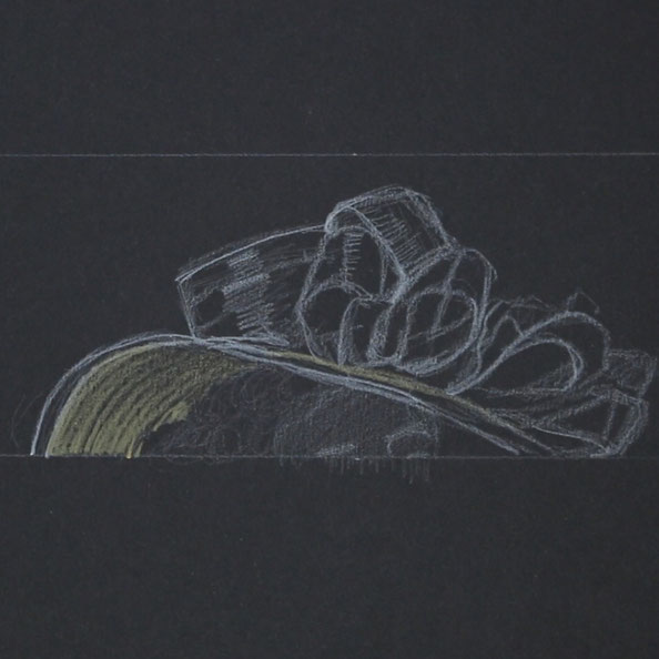 First, I sketch the hat with white pencil on black paper    Painting a Black Hat with Gouache , by The Daily Atelier