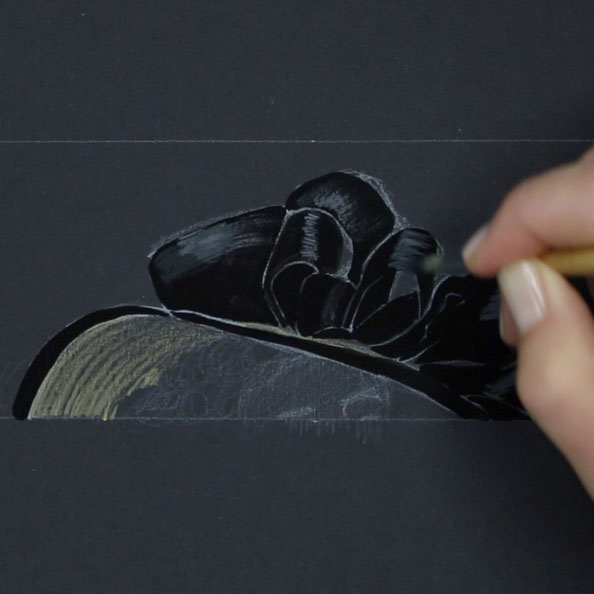Secondly, I paint the hat with black and grey gouache on black paper    Painting a Black Hat with Gouache , by The Daily Atelier
