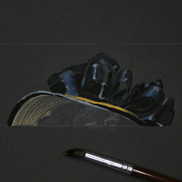 Thirdly, I add blue and yellow gouache accents on black paper    Painting a Black Hat with Gouache , by The Daily Atelier