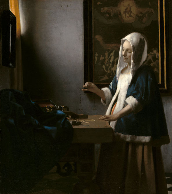 Johannes Vermeer,  Woman Holding a Balance , c. 1664, oil on canvas, National Gallery of Art, Washington, Widener Collection