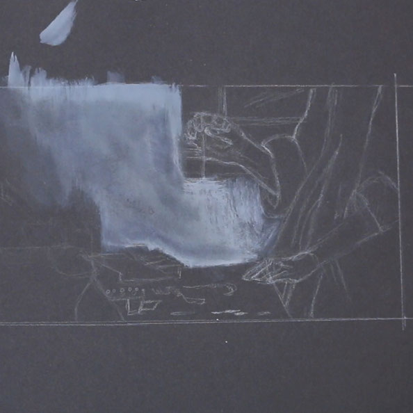 Then, I paint key areas with gouache on black paper    Painting Details after Vermeer , The Daily Atelier