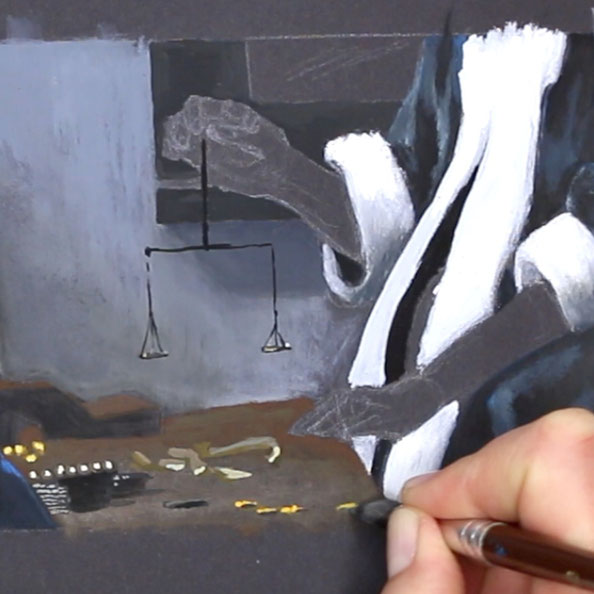 Finally, I create the details with gouache on black paper    Painting Details after Vermeer , The Daily Atelier