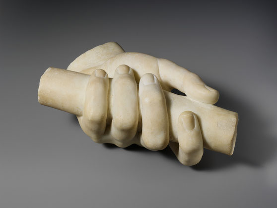 Marble left hand holding a scroll, 1st or 2nd century AD, Roman Marble, Metropolitan Museum of Art, New York, Roger Fund, 1921.