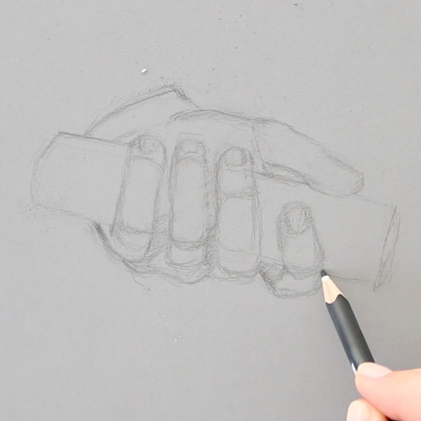 In the first step, I draw sketch the hand with pencil on grey paper |  Painting a Hand with Gouache , by The Daily Atelier