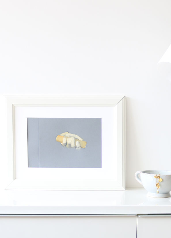 The framed painting in my home decor |  Painting a Hand with Gouache , by The Daily Atelier