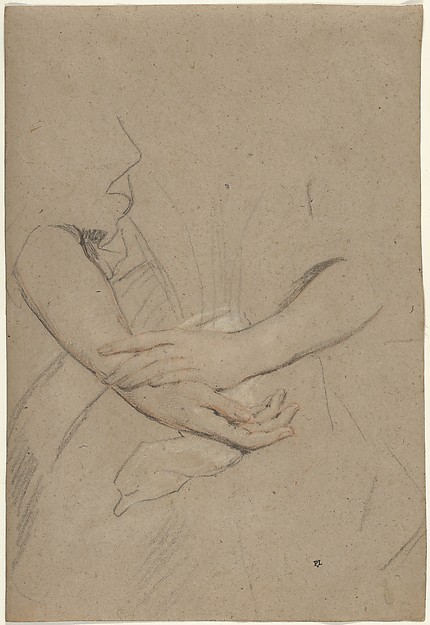 Study of the Forearms and Hands of a Woman , Sir Peter Lely, c. 1665 Black chalk with touches of red, heightened with white, on buff paper. Metropolitan Museum of Arts, New York, Robert Lehman Collection