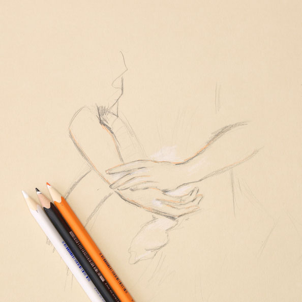 Thirdly, I draw details with orange and white pencil on brown paper |  Sketching Hands with Trois Crayons , by The Daily Atelier