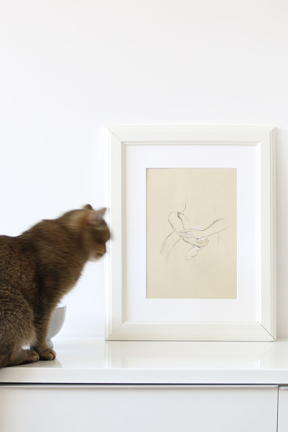 The framed drawing, and the cat! |  Sketching Hands with Trois Crayons , by The Daily Atelier