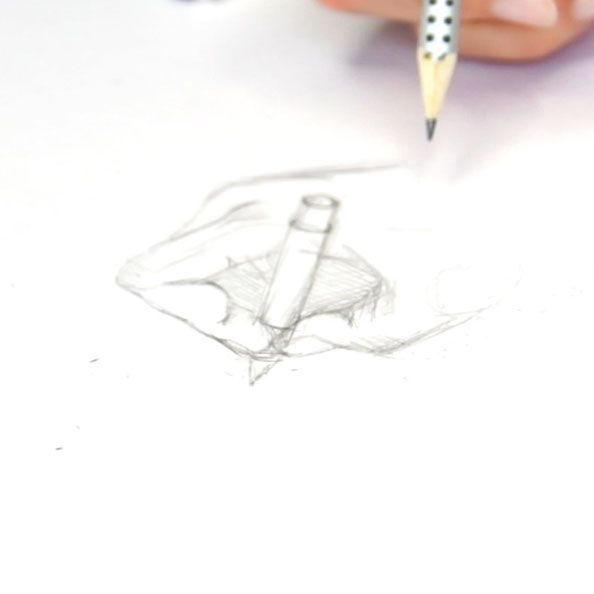 First, I draw the hand with pencil |  Drawing my own Hand with a Fountain Pen , by The Daily Atelier
