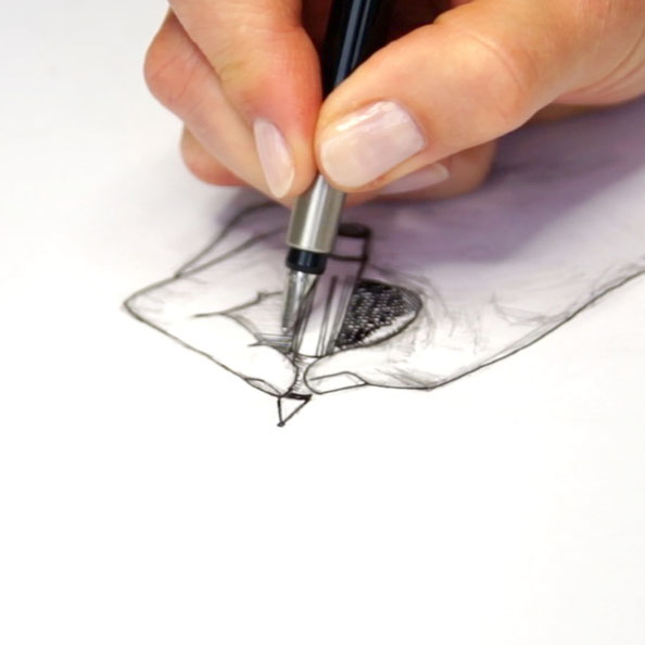 Secondly, I outline the sketch with ink |  Drawing my own Hand with a Fountain Pen , by The Daily Atelier