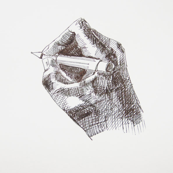 The finished drawing |  Drawing my own Hand with a Fountain Pen , by The Daily Atelier
