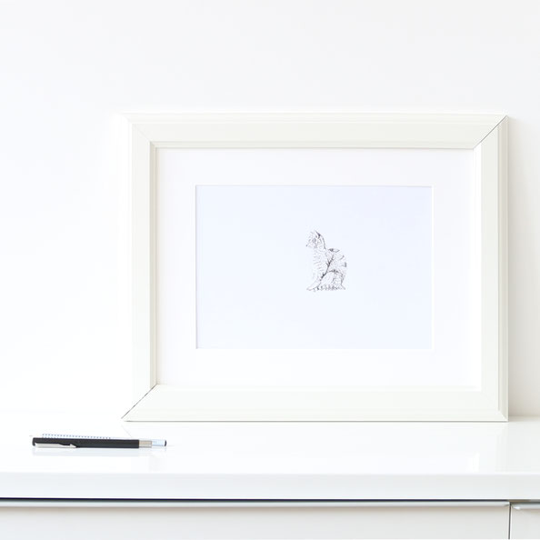 The finished drawing is ready to frame or gift. |  Drawing a Cat using Just dots , by The Daily Atelier.