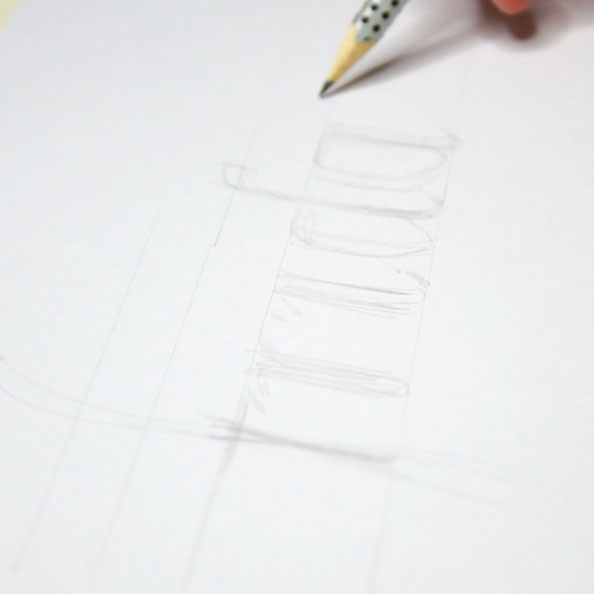 First, I quickly sketch the letters with pencil |  Hand Lettering 'Friday' Using Just Dots , by The Daily Atelier