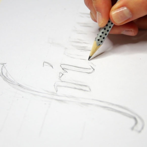 Secondly, I draw the letters with pencil with more details |  Hand Lettering 'Friday' Using Just Dots , by The Daily Atelier