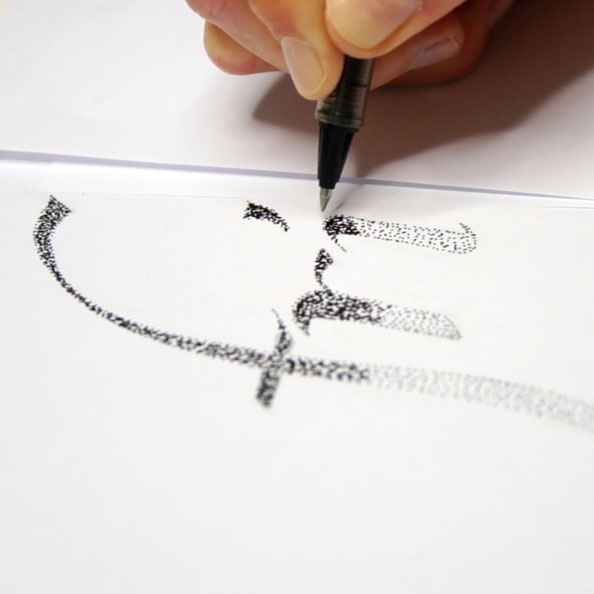 Thirdly, I draw the letters with ink using just dots |  Hand Lettering 'Friday' Using Just Dots , by The Daily Atelier