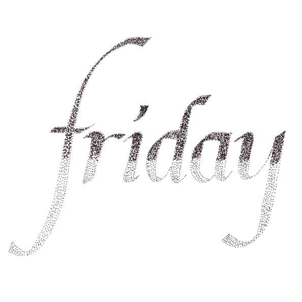 The finished drawing |  Hand Lettering 'Friday' Using Just Dots , by The Daily Atelier