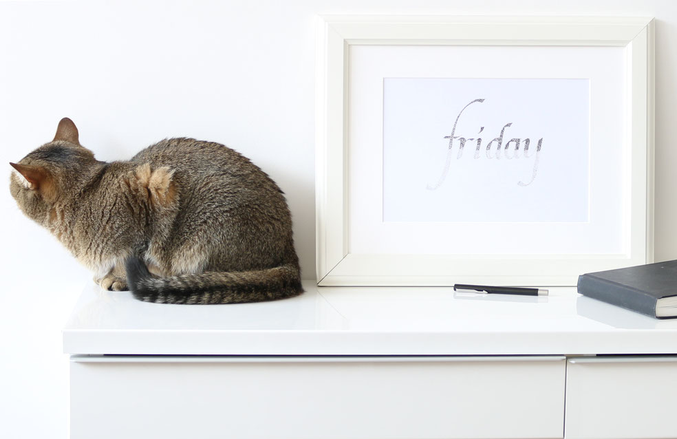 The finished drawing is ready to frame or gift |  Hand Lettering 'Friday' Using Just Dots , by The Daily Atelier