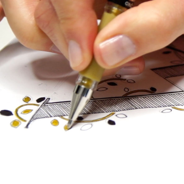 Thirdly, I add accents of gold ink |  Drawing an Embellished Letter W , by The Daily Atelier