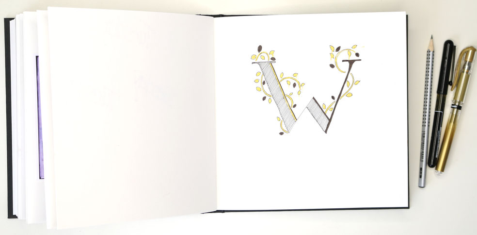 The finished letter in my sketchbook |  Drawing an Embellished Letter W , by The Daily Atelier