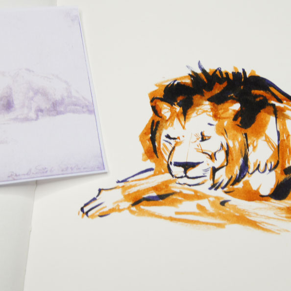 Finished drawing|  Rembrandt and a Lion for my Sketchbook , by The Daily Atelier