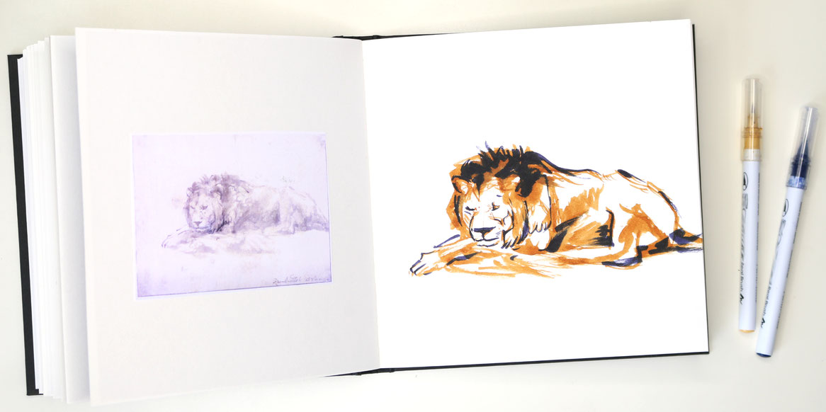 The finished drawing in my sketchbook |  Rembrandt and a Lion for my Sketchbook , by The Daily Atelier