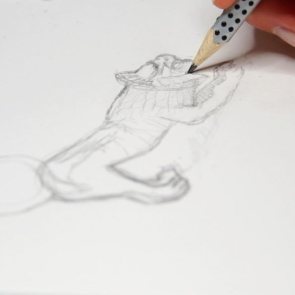 First, I sketch the lion with pencil in my sketchbook |  A Bronze Lion Ready to Jump from my Sketchbook , by The Daily Atelier