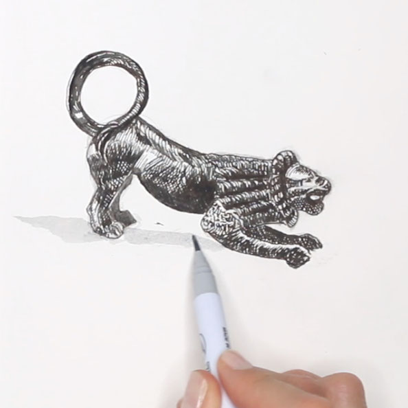 Thirdly, I add volume and details to the lion |  A Bronze Lion Ready to Jump from my Sketchbook , by The Daily Atelier