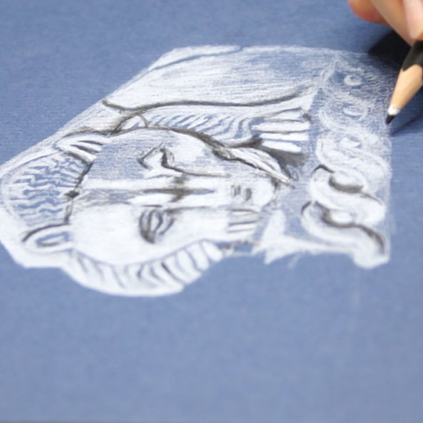 Adding details with black pencil on blue paper  | Another Lion's Head in my Sketchbook,  by The Daily Atelier