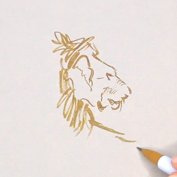 First, I sketch the lion's head … very slowly |  Rembrandt and a Lion for my Sketchbook (I) , by The Daily Atelier