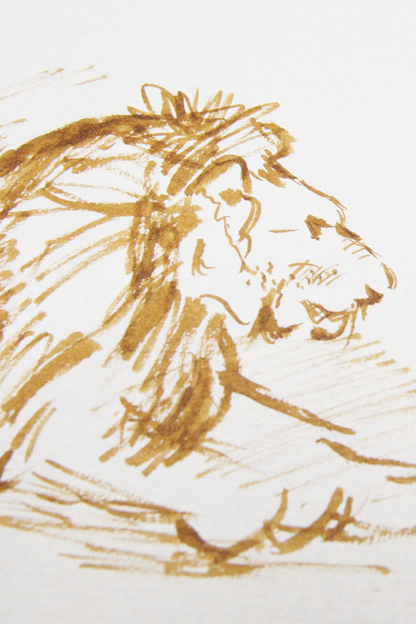 The finished sketch |  Rembrandt and a Lion for my Sketchbook (I) , by The Daily Atelier