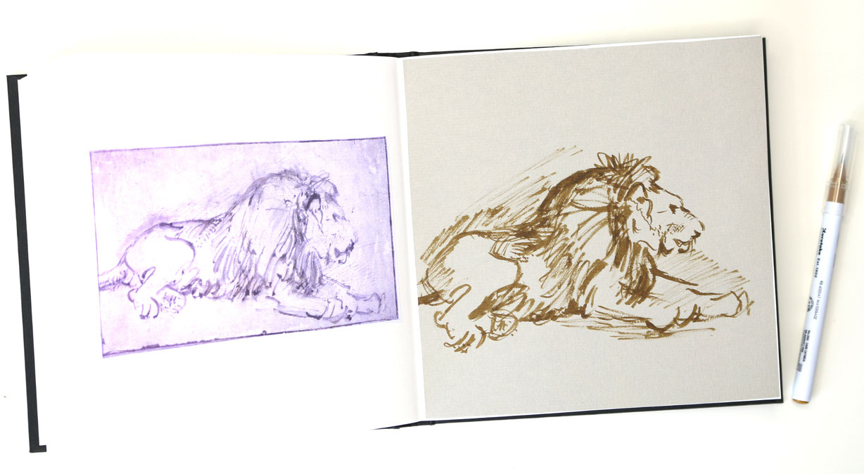 The finished sketch in my sketchbook |  Rembrandt and a Lion for my Sketchbook (I) , by The Daily Atelier