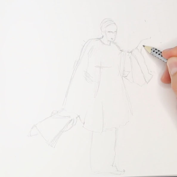 First, drawing a moving figure with pencil |  Drawing a Moving Figure in my Sketchbook , by The Daily Atelier