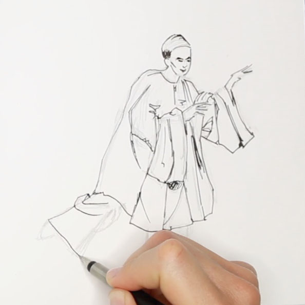 Secondly, drawing a moving figure with ink |  Drawing a Moving Figure in my Sketchbook , by The Daily Atelier