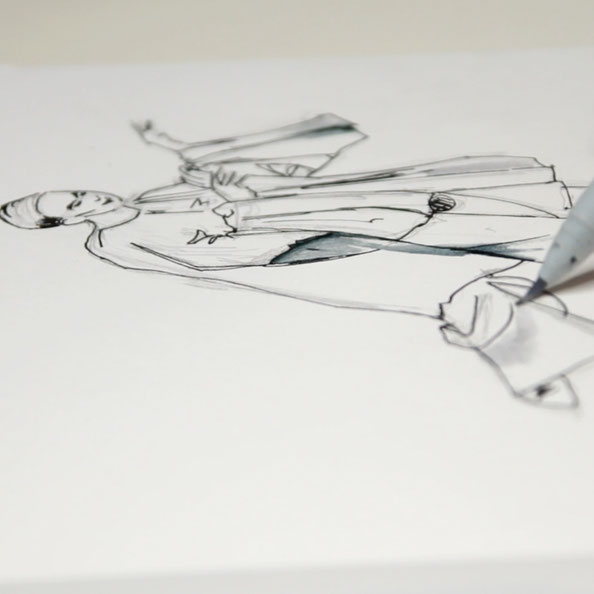 Thirdly, adding details and volume with ink |  Drawing a Moving Figure in my Sketchbook , by The Daily Atelier