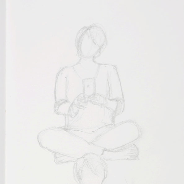 Secondly, sketching a sitting figure with crossed legs in my sketchbook |  Drawing from Selfies in my Sketchbook , by The Daily Atelier