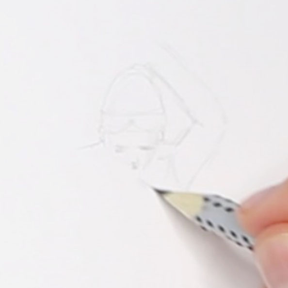 First, I sketch the head and arms of the figure |  Drawing a Greek Terracotta  in my Sketchbook, by The Daily Atelier
