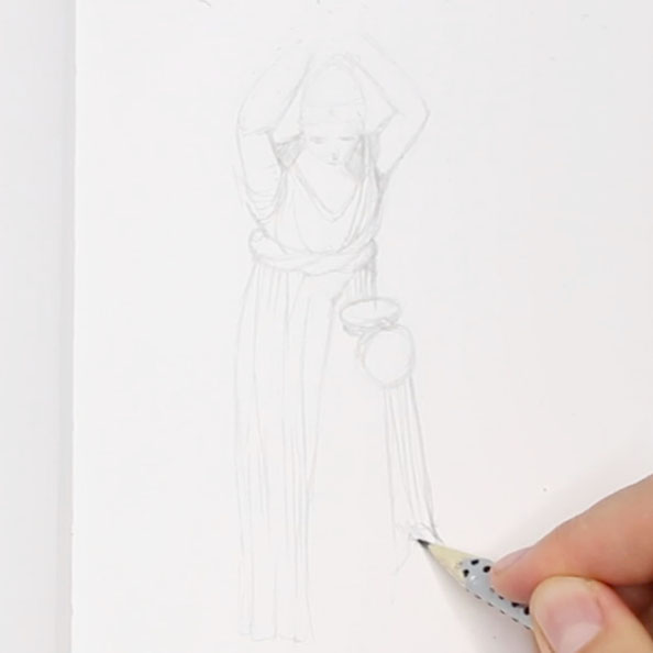 Then, I sketch the entire figure |  Drawing a Greek Terracotta  in my Sketchbook, by The Daily Atelier