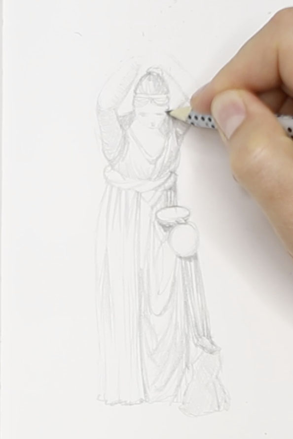 Thirdly, I sketch the details and dimension of the figure |  Drawing a Greek Terracotta  in my Sketchbook, by The Daily Atelier