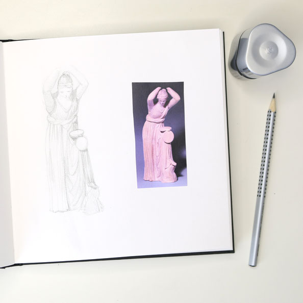 Finished drawing in my sketchbook|  Drawing a Greek Terracotta  in my Sketchbook, by The Daily Atelier