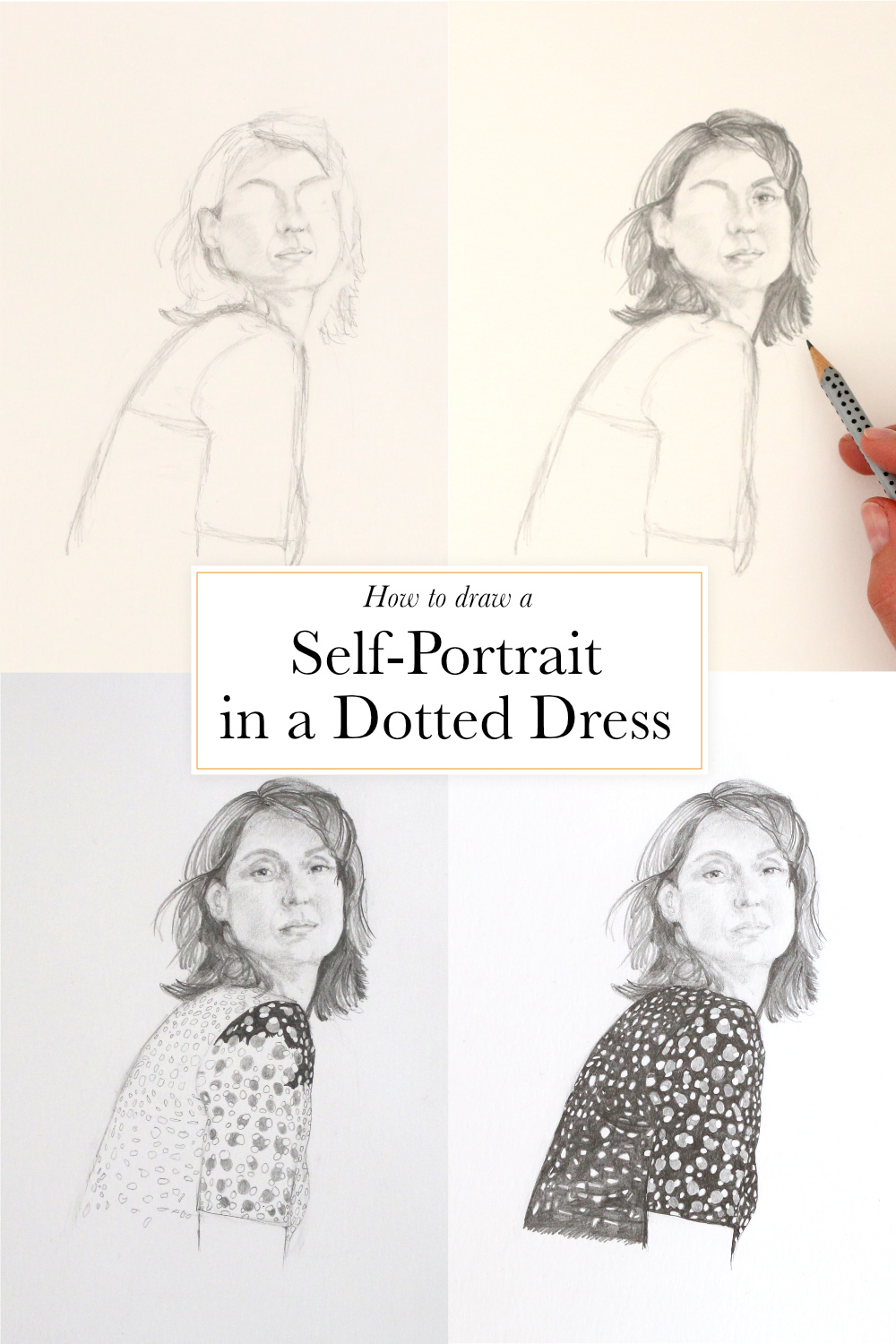 How to draw a self-portrait in a dotted dress | by The Daily Atelier