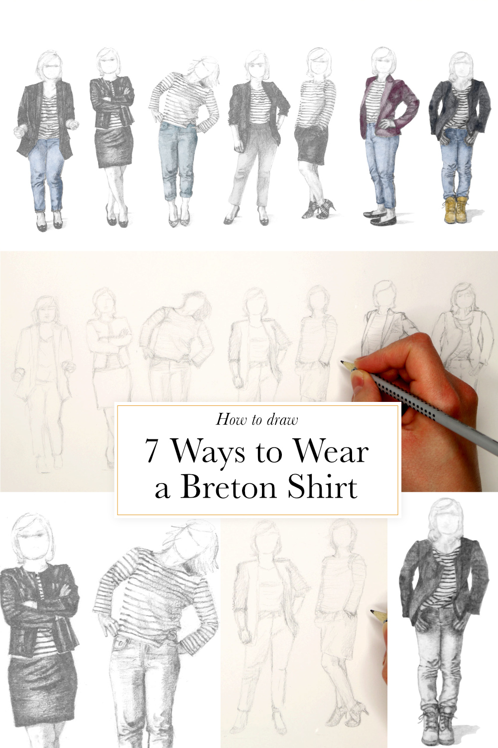 How to draw 7 ways to wear a breton shirt  | The Daily Atelier