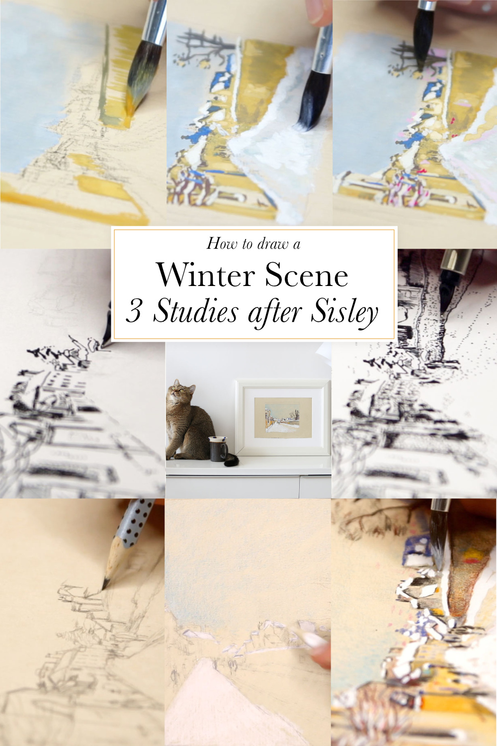 How to draw a winter scene: 3 studies after Sisley | The Daily Atelier