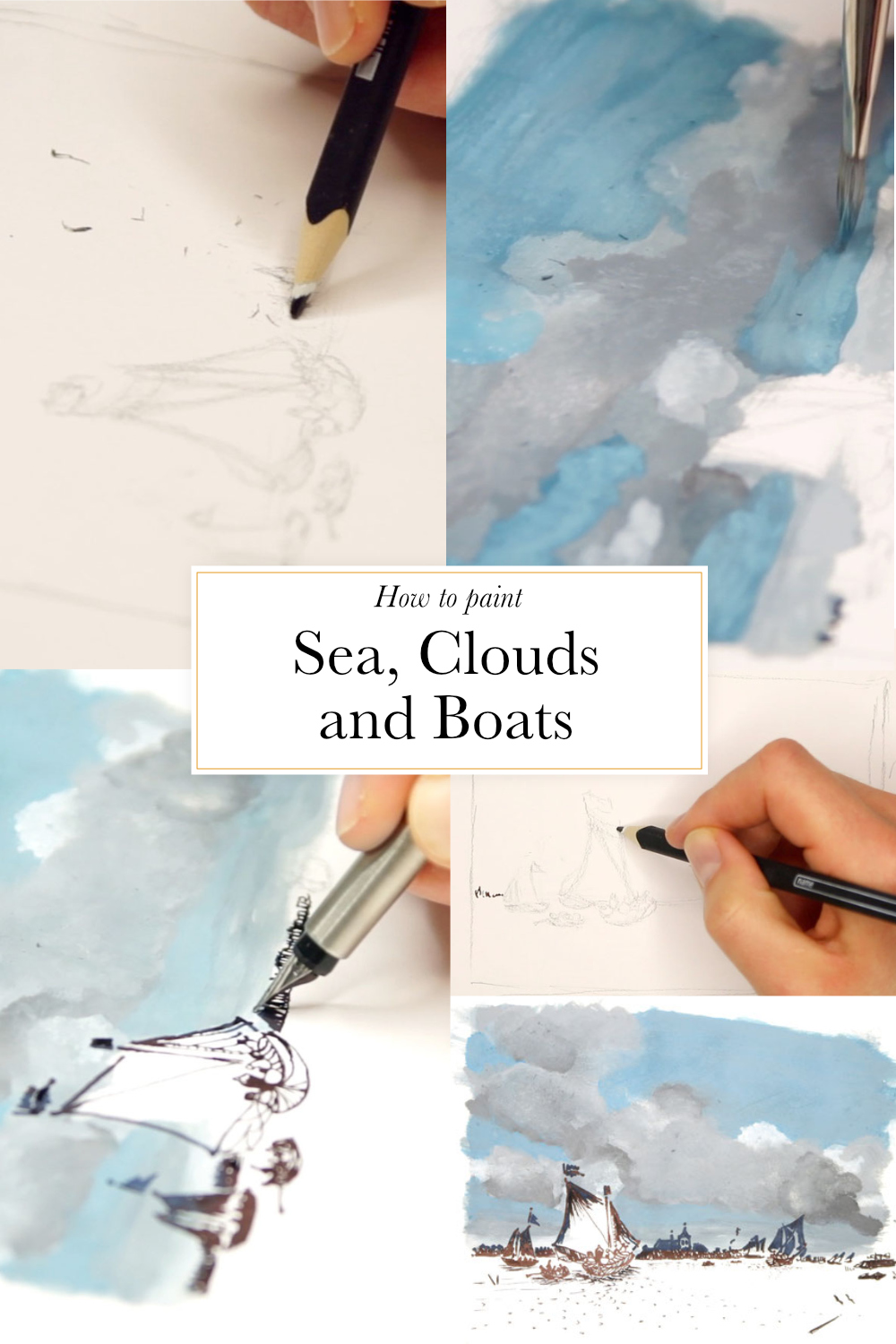 How to paint sea, clouds and boats  | The Daily Atelier