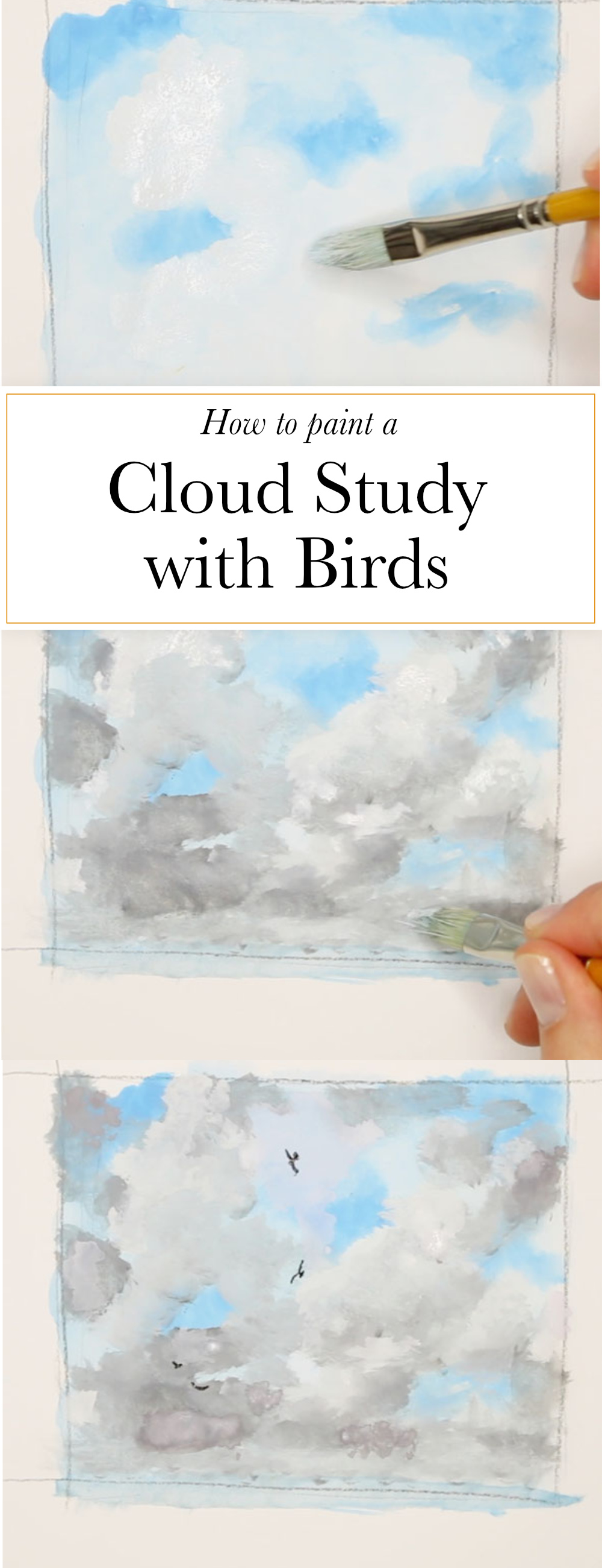 How to paint a cloud study with birds  | The Daily Atelier