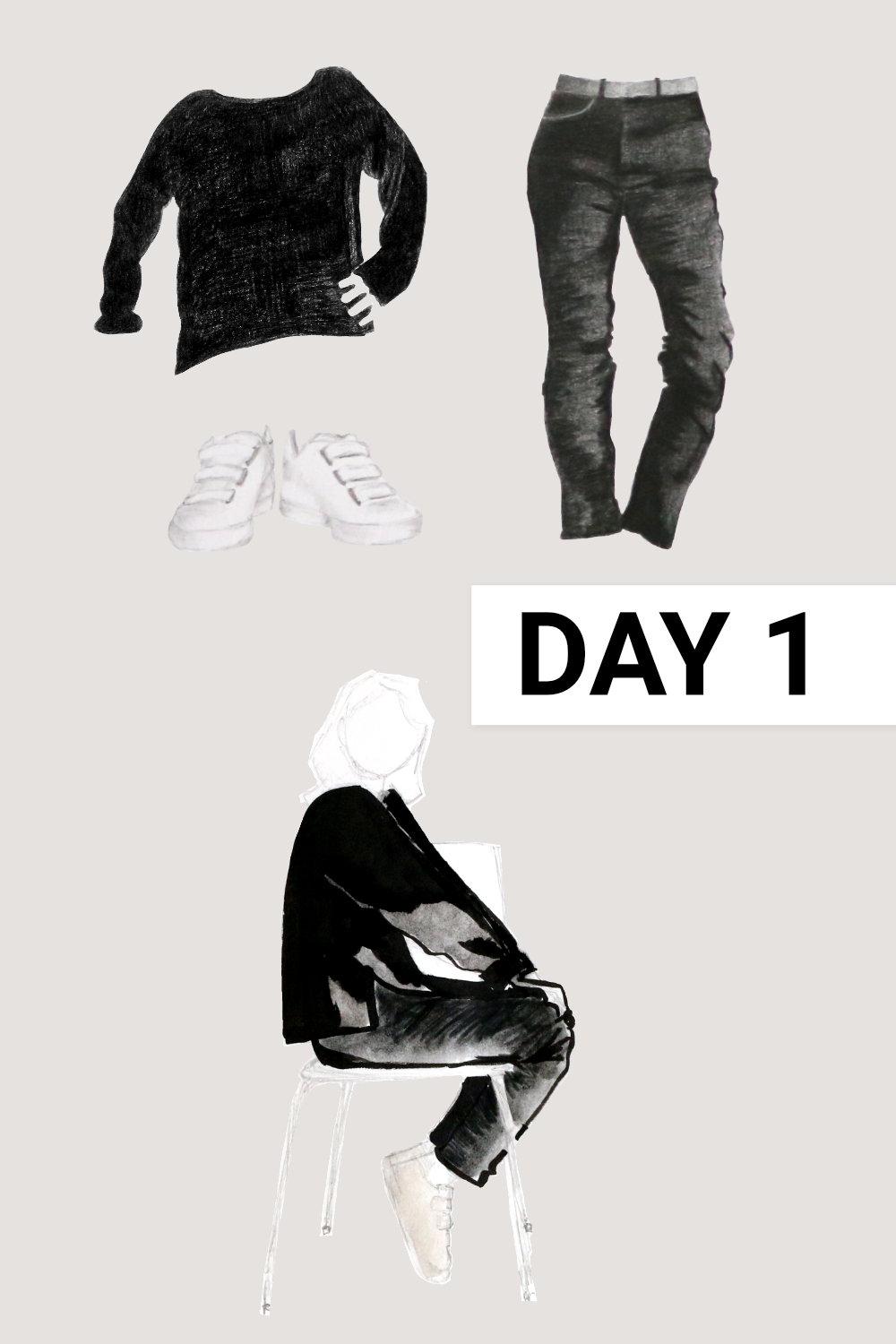 Day 1: Black boatneck ( Everlane , Black Cashmere Rib Boatneck, size M), black jeans ( Everlane , Authentic Stretch High-Rise Cigarette, size 31), white sneakers ( Veja , White Esplar Leather 3-Lock)    Drawing a Capsule Wardrobe , by The Daily Atelier #10x10Friends #Winter10x10 #StyleBee10x10