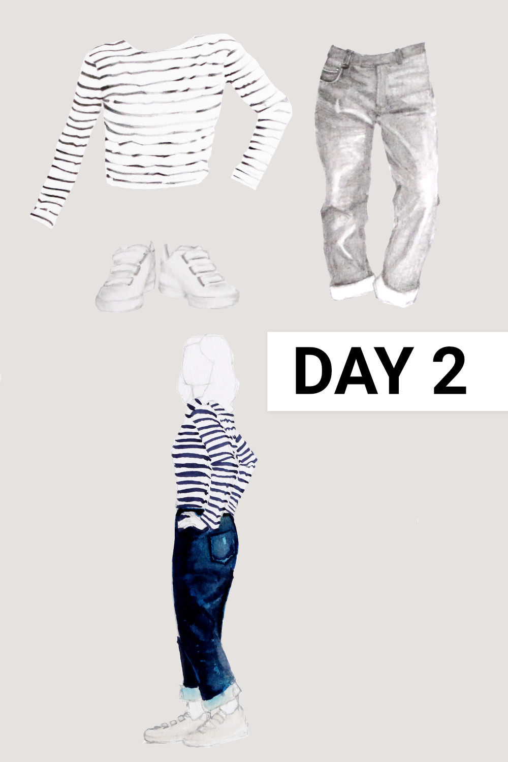 Day 2: Breton shirt ( Seasalt , Sailor Shirt, organic cotton, size 12), Blue jeans ( Everlane , The Cheeky Straight Jean, size 31), White sneakers ( Veja , White Esplar Leather 3-Lock)    Drawing a Capsule Wardrobe , by The Daily Atelier #10x10Friends #Winter10x10 #StyleBee10x10